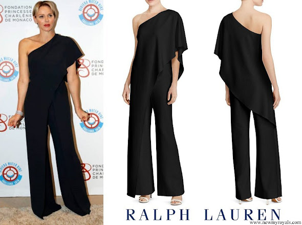 Princess Charlene wore Ralph Lauren Ruffle One shoulder Jumpsuit
