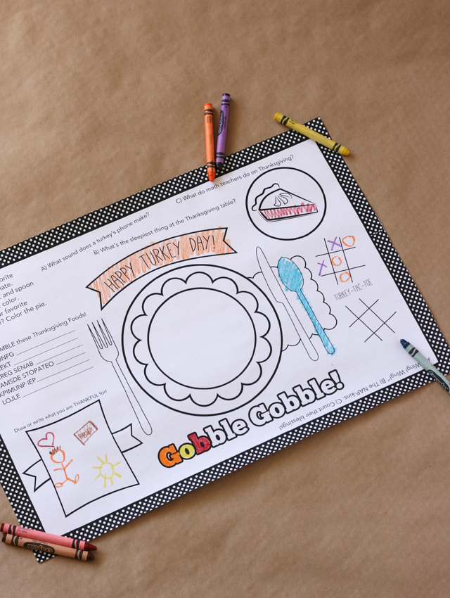 Free Printable Kids' Thanksgiving Placemat Sister's Suitcase Blog