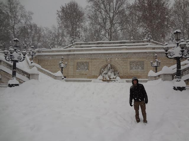 Parque nevado en Bolonia
