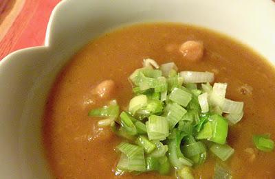 Closeup of bowl of Moroccan pumpkin soup