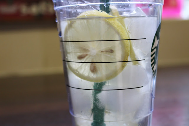 starbucks cup with water and lemon