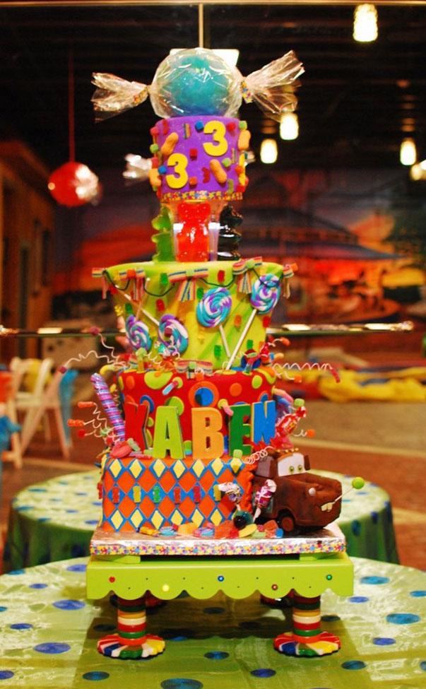 Kabens 3rd Birthday Cake And Stand