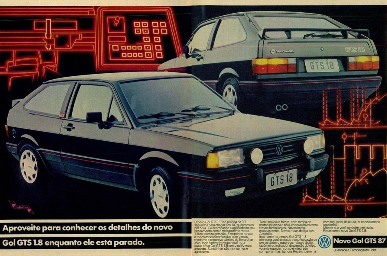 Propaganda antiga da Volkswagen promovendo o Gol GTS 1987