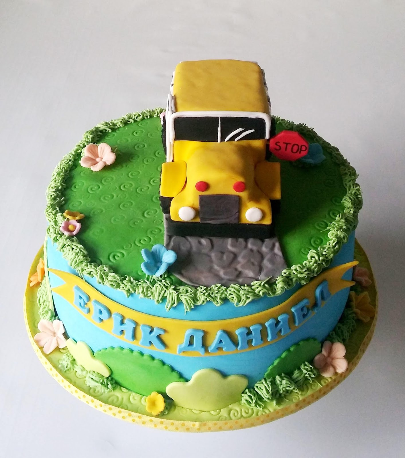 Terrific Cakesophia School Bus Cake Personalised Birthday Cards Cominlily Jamesorg
