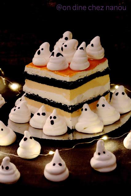 Gâteau , halloween , fantômes , baies d'argousier ,rigolo