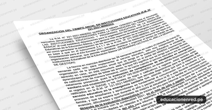 ANÁLISIS: Organización del Tiempo Anual en Instituciones Educativas (R.M. Nº 221-2021-MINEDU)