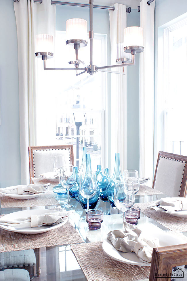 light blue and white dining room - summer decor