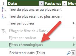 Option Filtres chronologiques