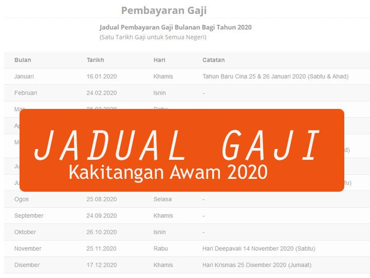 Jadual Tarikh Pembayaran Gaji Kakitangan Awam Tahun 2020