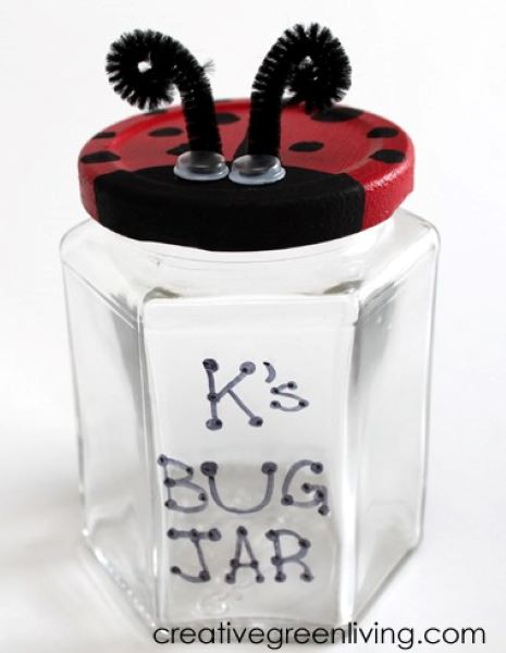 These adorable ladybug bug catcher is a great way to recycle a glass jar