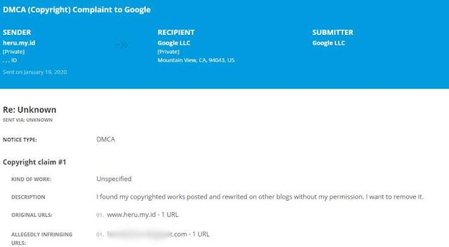 Foto Contoh Hasil Laporan Take Down oleh Google DMCA di Situs Blog Heru.my.id
