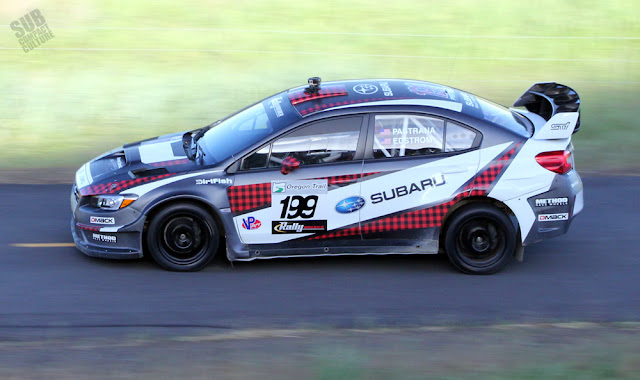 Travis Pastrana on tarmac at Oregon Trail Rally