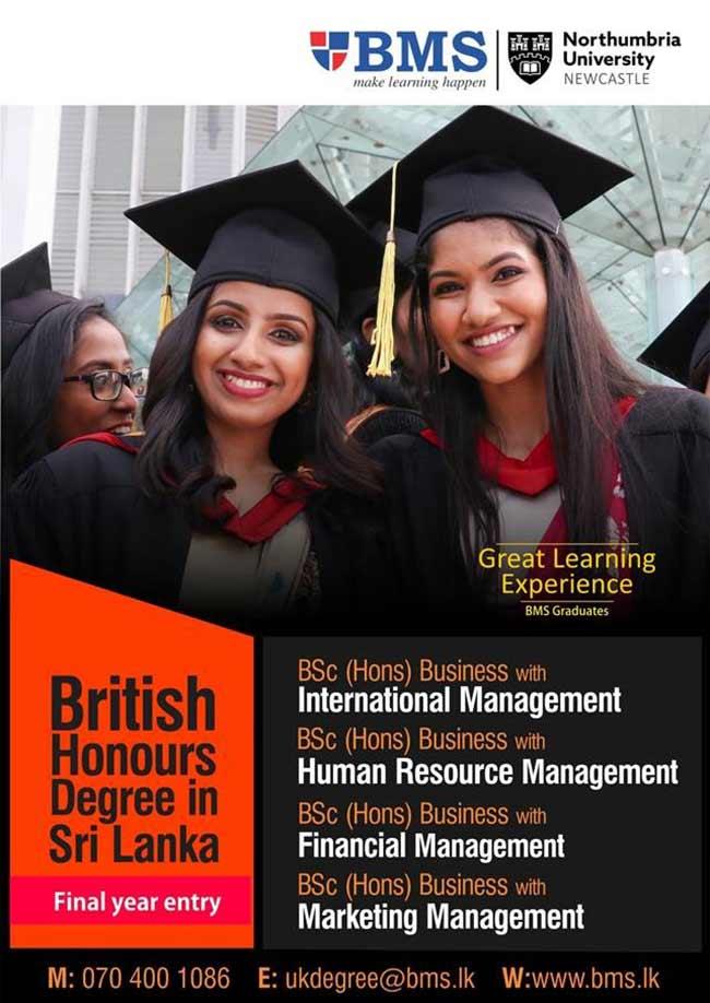 British Honours Degree in Sri Lanka - Final year entry.