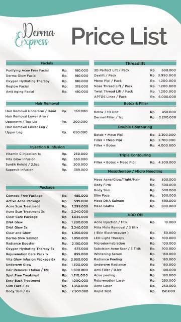 Derma Express Pricelist