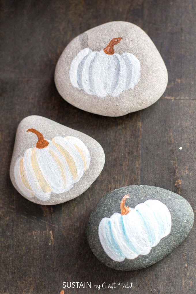 Watercolor inspired pumpkin painted rock