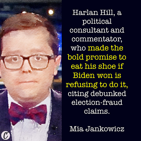 Harlan Hill, a political consultant and commentator, who made the bold promise to eat his shoe if Biden won is refusing to do it, citing debunked election-fraud claims. — Mia Jankowicz, Business Insider News Reporter