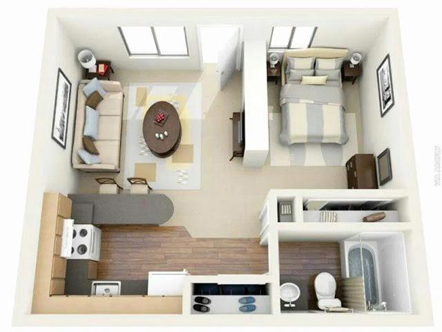 Gambar Desain Rumah Minimalis Sederhana 1 Kamar Tidur