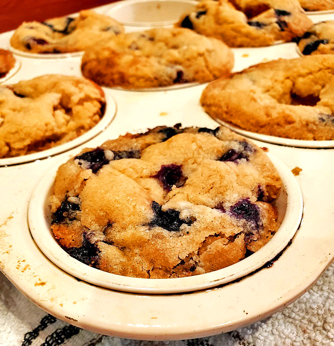 this is a muffin tin of blueberry baked muffins