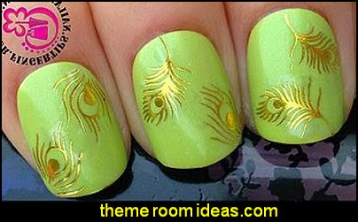 WATER TRANSFER DECALS SHINEY GOLD PEACOCK EYE FEATHERS