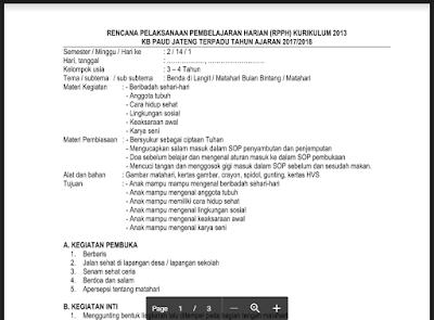 RPPH KB B Semester 2 Tema Matahari Bulan Bintang Kurikulum 2013