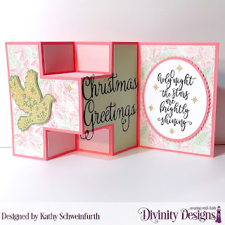 Stamp Set: Silent Night Custom Dies: Half Shutter Card with Layers, Christmas Dove, Christmas Greetings, Ovals, Scalloped Ovals Paper Collection: Christmas 2018