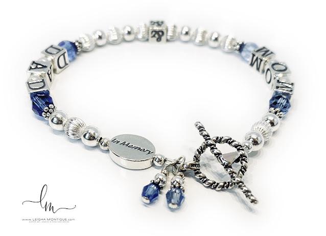 Mom & Dad In Memory Bracelet with Birthstones