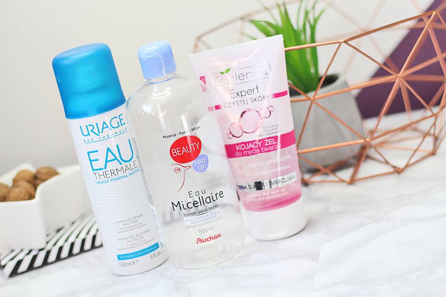 Uriage, Eau Thermale d`Uriage - Woda termalna & Auchan, Beauty Makeup - Płyn micelarny & Bielenda, Expert Czystej Skóry - Kojący żel do mycia twarzy