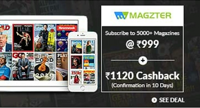 Rs.121 Cash In Your Bank Account Just 5 Minutes (Cashkaro & Magzter Combo OFFER)