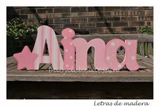 letras de madera infantiles para pared Aina con silueta de estrella babydelicatessen