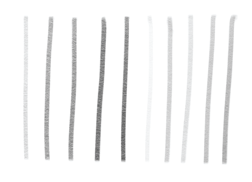 Applying different amounts of pressure to the pencil can change the level of darkness of a line.