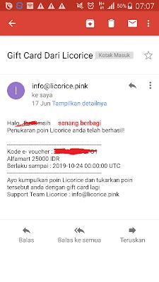 Bukti Voucher Alfamart Gratis dari Aplikasi Licorice Indonesia