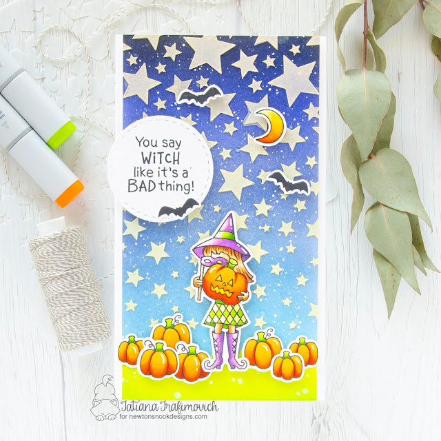 Halloween Witch Card by Tatiana Trafimovich   Brooms & Boos Stamp Set and Cascading Stars Stencil by Newton's Nook Designs #newtonsnook