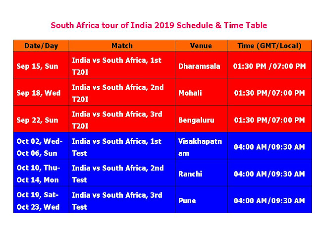 South Africa tour of India 2019 Schedule & Time Table    South Africa tour of India 2019 Schedule & Time Table, India Vs. South Africa 2019 Fixture, india cricket time table, india cricket 2019 time table, RSA Vs. IND series 2019, India vs. South Africa September 2019 series, t20 series, cricket, international cricket, odi cricket, india home series schedule, south Africa vs. india cricket series 2019, south Africa tour of India 2019, ICC cricket calendar 2019, test series, place, match time, venue,    India Vs. South Africa 2019 Fixture