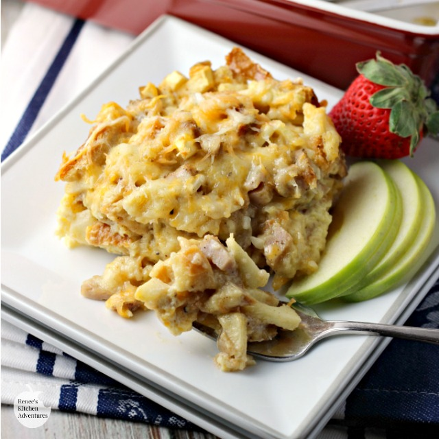 Chicken Sausage, Apple and Cheddar Breakfast Bake | by Renee's Kitchen Adventures - easy recipe for breakfast or brunch with sausage, apples, and cheese.  Sweet and savory. Can be a make-ahead casserole. #SundaySupper