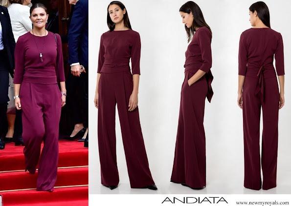 Crown Princess Victoria wore Andiata Kamille trousers and kiana blouse
