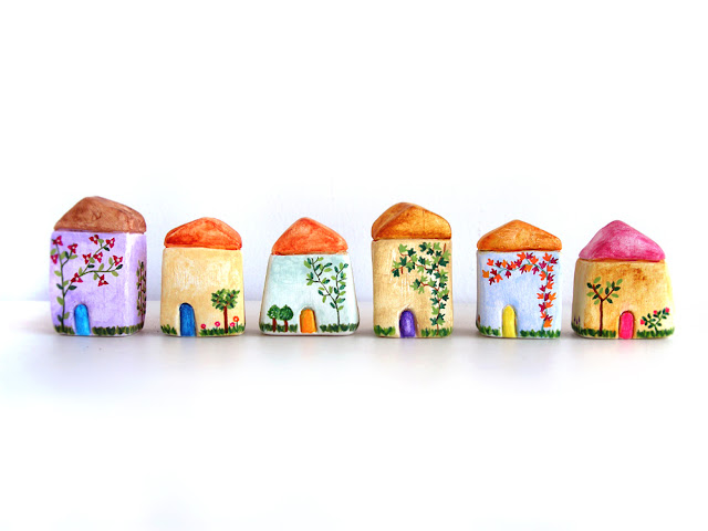miniature hand painted houses
