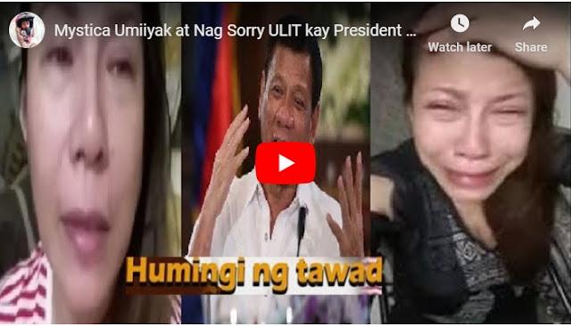 WATCH: Mystica Umiyak at humingi ng tawad sa Pambabastos na ginawa niya sa Pangulo