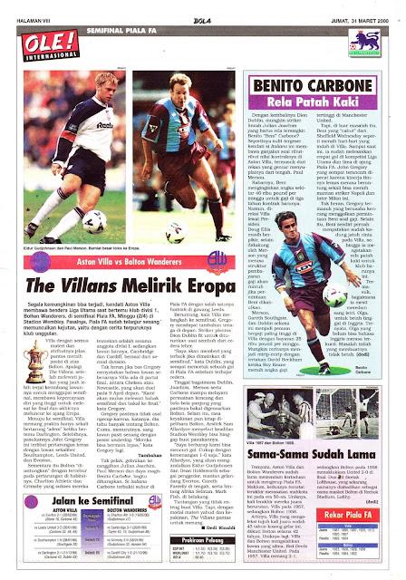 ASTON VILLA VS BOLTON WANDERERS THE VILLANS MELIRIK EROPA
