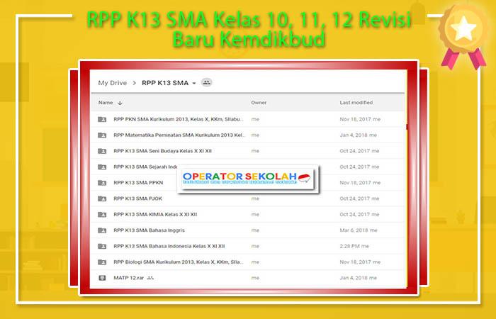RPP K13 SMA Kelas 10, 11, 12 Revisi Baru Kemdikbud