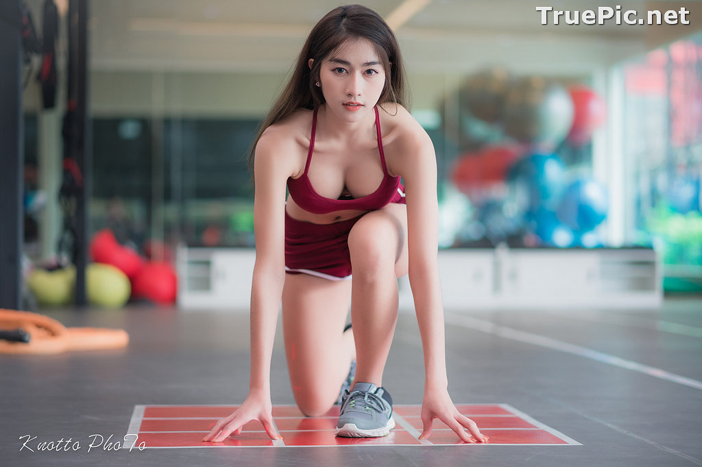 Image Thailand Hot Beauty Model - Nisa Khamarat - Red and Black Fitness Set - TruePic.net - Picture-8