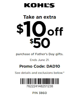 Kohls coupon $10 off $50 Father's Day Gift purchase 2020