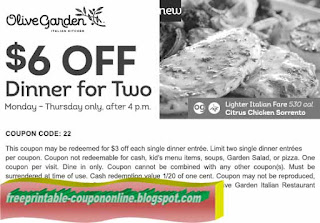 Free Printable Olive Garden Coupons