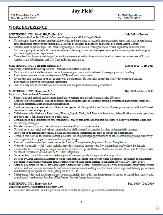 international customer care sample resume format in word