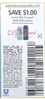 "$1.00/1 Suave Body Wash Coupon from ""RetailMeNot"" insert week of 11/1/20."