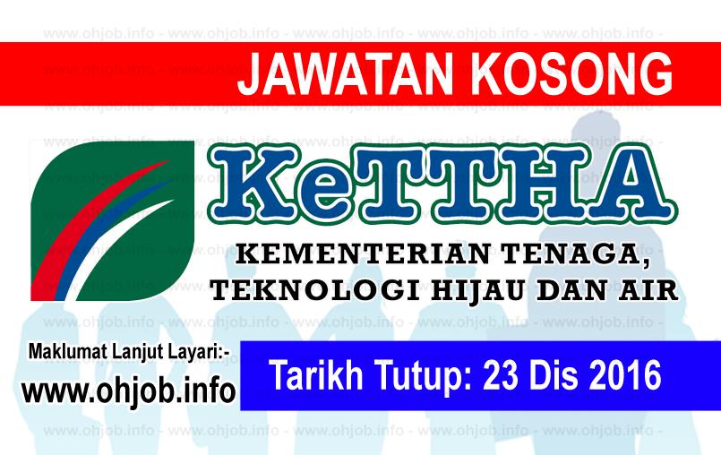 Jawatan Kerja Kosong Kementerian Tenaga Teknologi Hijau dan Air (KeTTHA) logo www.ohjob.info disember 2016