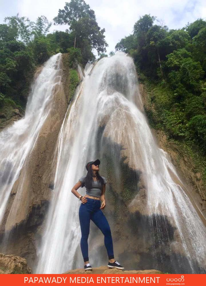 Thinzar And Waterfall : She Is Standing In Front of Watertall