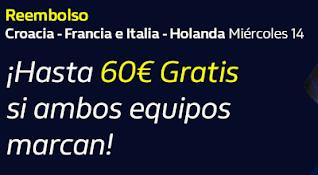 william hill Reembolso hasta 60€ Croacia v Francia e Italia v Holanda 15-10-20