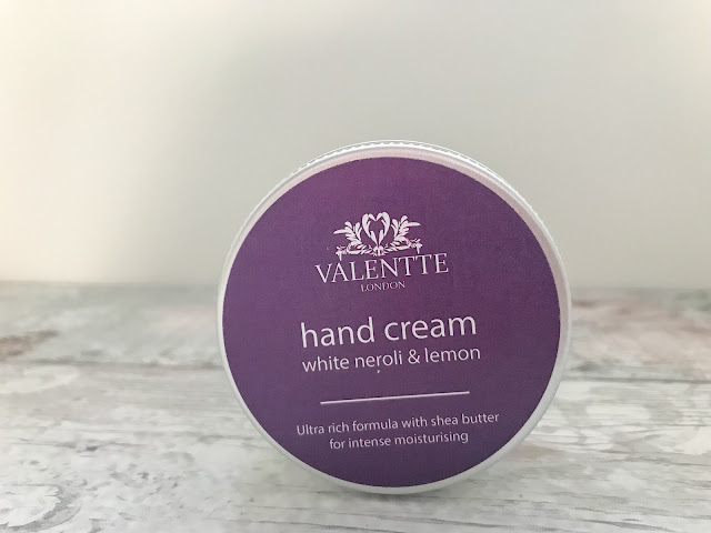 Valentte hand cream standing on table