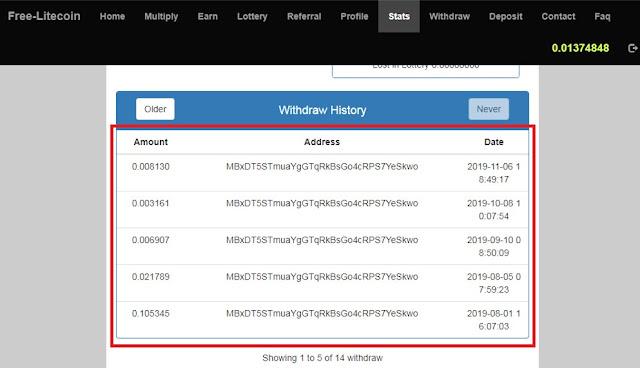 إثباتات سحب موقع Free Litecoin