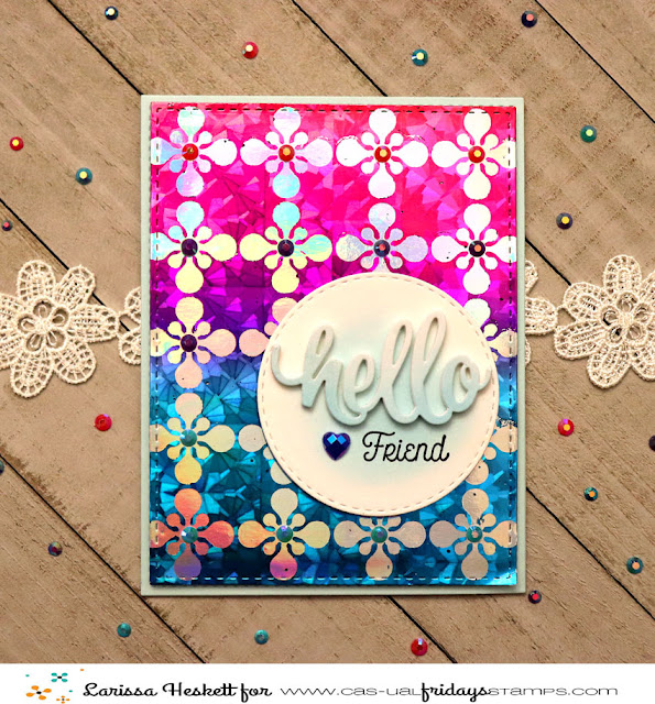 Hello Friend Negative Foiled Card for CAS-ual Fridays Stamps by Larissa Heskett  using Bold Trellis Stencil, Sweet Friend Fri-Dies, Foxy Stamp Set